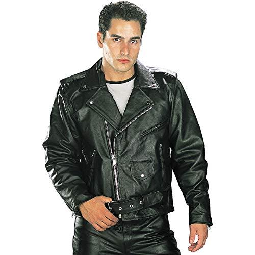 Xelement B7100 'Classic' Men's Black TOP GRADE Leather Motorcycle Biker Jacket - 5X-Large