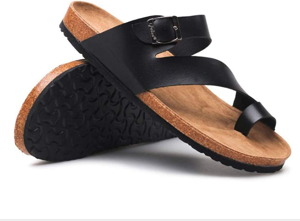 Slippers Faux Leather Slippers Sandals Open Toe Flip Flop Men Comfort Non-Slip Adjustable Slipper Beach Pool Black Slippers(Color:A,Size:35)