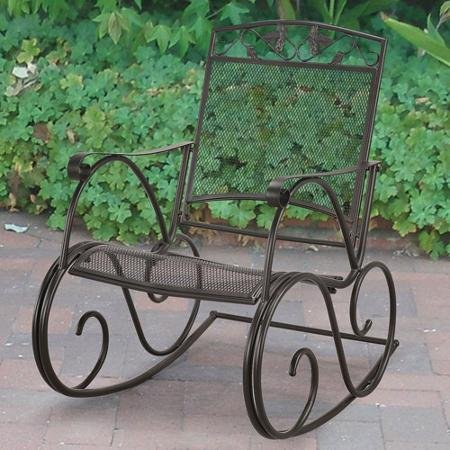 Mainstays Jefferson Wrought Iron Porch Rocking Chair, Black