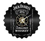 SKYTY Vinyl-Wanduhr - Jack Daniels - Retro-Atmosphäre Silhouette Rekord Handgemachtes Geschenk Cool Home Art Decor Kein Led-Licht 12 Zoll