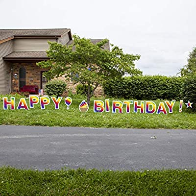 Vispronet Happy Birthday Rainbow Gradient Colored Yard Signs with Stakes – Easily Readable - Each Letter is 18in Tall – Includes Bonus Star, Cupcake, Balloon – Weather-Resistant Signs and Steel Stakes