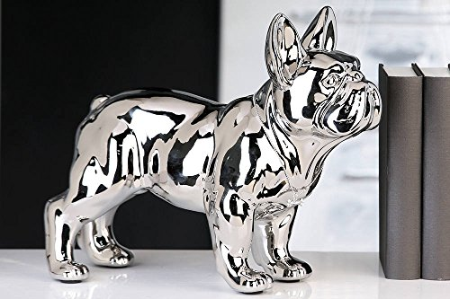 Laure TERRIER Statua di Bulldog Francese Ceramica, in Piedi, Centimetri di Lunghezza 32. Decorazione, Modello Argento