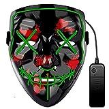 Funmo Masque LED Halloween, Masques La Purge LED Lumière Mask Costume Parti Masques Cosplay Grimace Festival Décoration Masque pour Adultes et Enfants, Alimenté par Batterie (Vert)