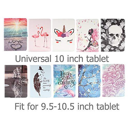 Ancase Tablet Hülle kompatibel für Universal 10 Zoll 9.6 9.7 10.1 Zoll Hülle Case Leder Tasche Muster Schutzhülle Flip Cover mit Kartenfach - Einhorn Wimpern