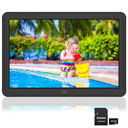 8 inch Digital Picture Frame Include 32GB Card 1920x1080 IPS Screen Digital Photo Frame, Auto Power On/Off, Music Support 1080P Video, Calendar, Alarm Clock, SD Card and USB