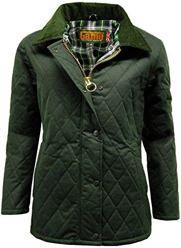 Game Technical Apparel Zara Damen-Jacke, gewachste Baumwolle, gesteppt Gr. 48, olivgrün
