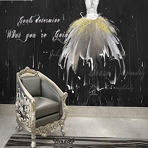 MILUSEN Zwart Achtergrond Behang, Wit Bruidsjurk Behang