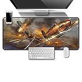 DYYTMTA Alfombrilla de ratón para Juegos de XXL Paisaje de Aviones de Guerra de artillería Antideslizante Alfombrilla de ratón Grande para Juegos Lavable 900x400mm para Gamers, PC y Portátil
