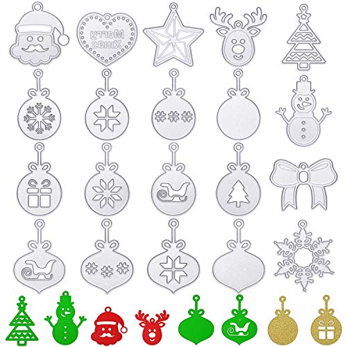 20 Pieces Christmas Ornament Snowflake Shape Die Cuts Christmas Elk Snowman Shapes Cutting Dies Stencils Template for DIY Embossing Decorative Scrapbooking Card Album