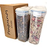 Cereal Storage containers Large 4L with lids Kitchen Tupperware Double Dispenser Pack