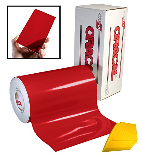 ORACAL 8300 Transparent Red 12' x 24' Colored Window Tinting Vinyl Roll for Cricut, Silhouette & Cameo Including Hard Yellow Detailer Squeegee (1 Roll Pack)