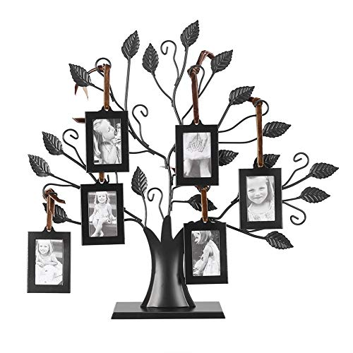 Grandmothers Gifts Metal Family Tree Frames Photos Display Tree Picture Frames Family Tree with Hanging Pictures Frames Home Free-Standing Tabletop...