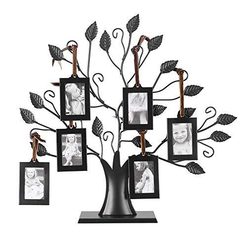 Baum-Fotorahmen, Eisen Familienbaum mit 6/12 hängenden Bilderrahmen für Tischdeko, Modische Familienbilderrahmen für Inneneinrichtungeng (6 Stück)