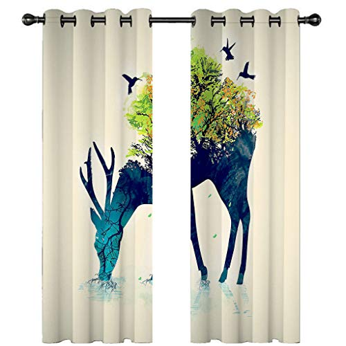 Leeypltm 1 set 2 Panels -3D Blackout Curtains, Curtain For Eyelet, Pleat Curtains, Giraffe tent eating grass2 x W 43 X D 85inch,Apply to: bedroom/living room/balcony, etc.