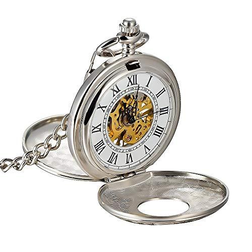 UNHO Reloj de Bolsillo Vintaje Reloj Colgante de Esqueleto Mecánico Reloj de Cuarzo Unisex Moda Plata con Cadena de Collar y Números Romanos Antiguos para Hombres y Mujeres