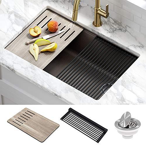 Kraus KGUW2-30MBR Bellucci Workstation 30 inch Undermount Granite Composite Single Bowl Kitchen Sink, Metallic Brown