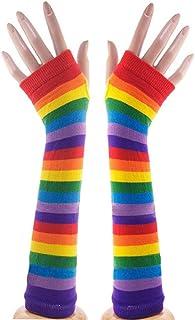 FENICAL, Fenical - Guantes sin dedos de malla sin dedos, calentadores con rayas de colores para niñas y mujeres