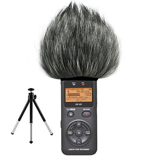 FIRST2SAVVV TM-DR-05-C01G6 Micrófono Externo Peludo Parabrisas Manguito Para Grabadores digitales para Tascam DR-05 DR05 + Mini trípode