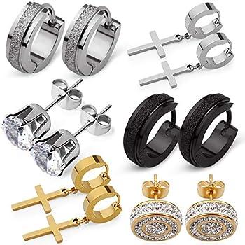 SKS Jewelry 6 Pairs of Stainless Steel hypoallergenic Earrings for Men Women| Premium set of Cubic Zirconia Stud Earrings| Small Hoop earrings | 18k PVD Gold plated Cross Earrings for Men