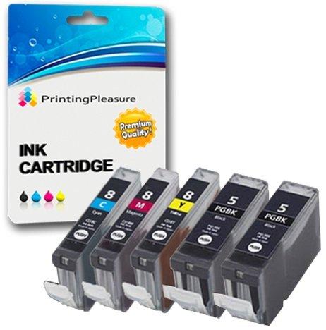 5 Druckerpatronen für Canon Pixma iP3300, iP3500, iX3300, iX3500, iX4000, iX5000, MP510, MP520, MP520X, MX700 | kompatibel zu Canon PGI-5BK, CLI-8C, CLI-8M, CLI-8Y