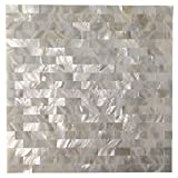 Art3d Peel and Stick Mother of Pearl Shell Mosaic Tile for Kitchen Backsplashes, 12 x 12 White Brick by Art3d