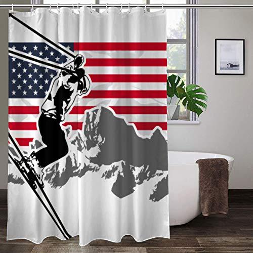 Alpine Ski USA Flagge bunter Duschvorhang Badezimmer Polyester Stoff Liner Duschvorhang mit Haken 152,4 cm B x 182,9 cm H