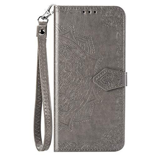 BaiFu Datura blommor plånboksfodral för Xiaomi Redmi Note 9 Pro läder plånbok kort flip fodral med magnetisk stängning kompatibel med Xiaomi Redmi Note 9 Pro-Grey