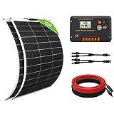 ECO-WORTHY Kit Solar 260W 12V: 2 Paneles Solares Flexibles + 1 Controlador de Carga 20A + Accesorios de Montaje para Caravana, RV, Barco, Marina, Aplicación Fuera de la Red