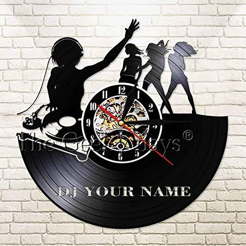 DJ Room Deco Deejay Bar Vinyl Record Reloj de Pared DJ Disco