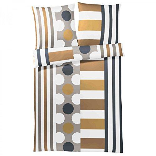 Yes for Bed Bettwäsche Pure&Simple, Mako-Satin, kamel/grau, Größe Bettwäsche:155 x 220 cm