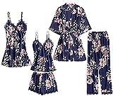 Huha 5PCS Kimono Bata Robe de Baño para Mujer Pijama Conjunto de Albornoces + Camisón+ Chaleco + Pantalones Cortos y Largo Satén Encaje Floral