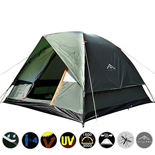 Mdsfe Waterproof Camping Hiking Fishing Tent Separated Dual Layer Travel Tent 4 Season Anti UV Beach Tent for 3-4 Person Family - Green, a2