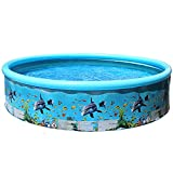 MeterBew1147 Piscina Plegable Piscina Redonda para niños Suministros de Fiesta al Aire Libre de Verano para niños Piscina de patrón de Peces de océano para Adultos