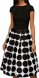 Women Dress Wave Point Pocket Sashes Knee-Length Dress Splice Casual Dress Crew Neck Short Sleeve Skirt