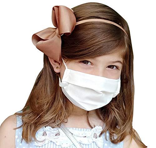 Pack 5x Mascarilla Higiénica Reutilizable UNE 0065 Tela 100% Algodón - Niño 6-9 años S - BFE 98% - Lavable Antialérgica - Homologada en España - Cottonblock