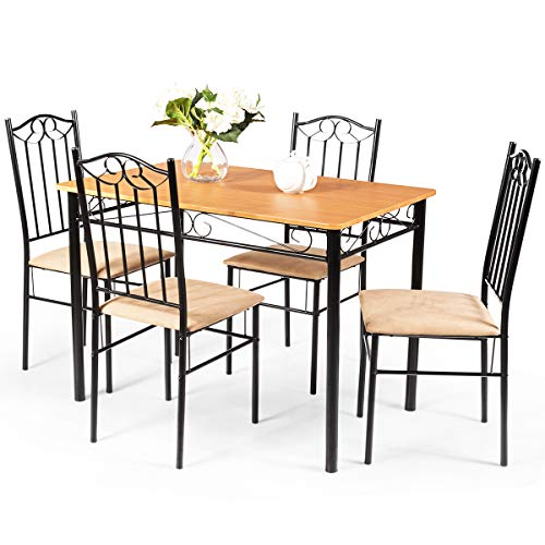 Tangkula 5 Piece Dining Table Set Vintage Wood Top Padded Seat Dining Table and Chairs Set Home Kitchen Dining Room Furniture