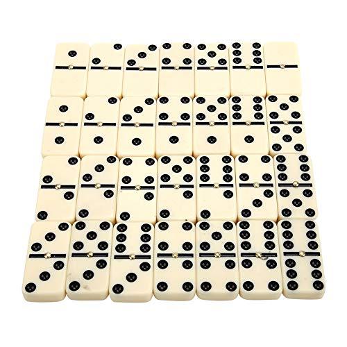 SOONHUA - Juego de 28 mini dominos, color blanco con puntos negros, ideal para llevar