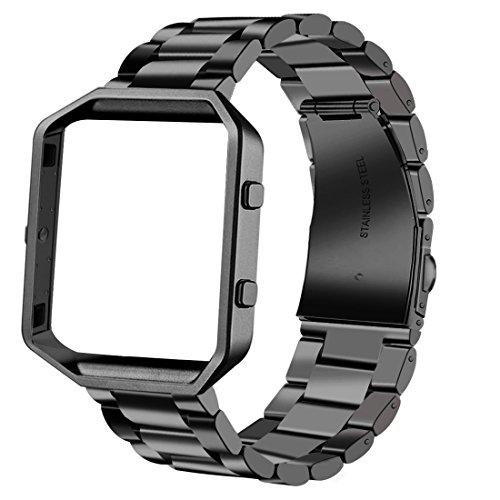 Fitbit banda de Blaze, iitee Luxury auténtica acero inoxidable reloj banda correa de muñeca banda para Fitbit Blaze actividad Tracker reloj, Steel Black Band + Black Frame