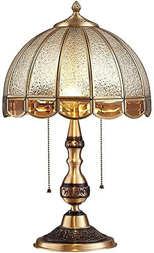 Lámpara De Mesa De Vidrio De Cobre Tallado Con Interruptor De Tiro, Lámpara De Noche Para Dormitorio, Estudio Americano, Mesa De Oficina, Iluminación, Decoración