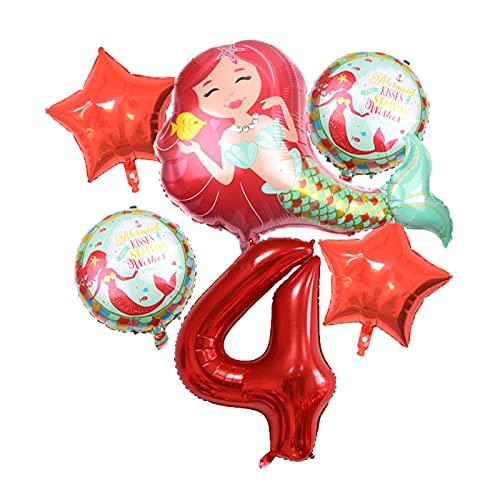 XIAOZSM Globos Globos de lámina de sirpea púrpura roja con número de dígitos de 40 Pulgadas Helio Globo Dibujos Animados Globos Decoraciones de Fiesta de cumpleaños niños o Adultos ( Farbe : Red 4 )