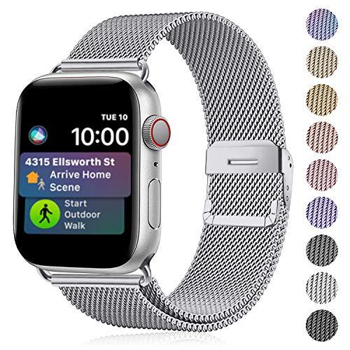 Funbiz Compatibel met Apple Watch Metaal Bandje 38mm 40mm 42mm 44mm, Flexibel Ademend Roestvrij Staal Mesh Armband Smartwatch Vervangende Band per Series 5 4 3 2 1, 38mm/40mm-Zilver