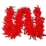 CANDLLY Schal Damen, Mode Damen Qualität Weiße Federboa Flapper Hen Night Burleske Dance Party Show Kostüm(Rot,One Size