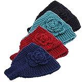 Handmade Crochet Flower Headwrap Knit Headband Women Warmer Ear Wool Wide Turban Hairband Bandage