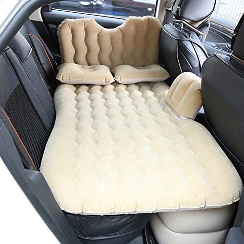 AYNEFY Auto Matratze Luftmatratze Tragbar Automatratzen SUV Rückbank Luftbett Dickes Bewegliches Aufblasbares Bett mit Stühle und Kissen für Camping Reisen(Beige)