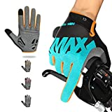 NICEWIN Full Finger Cycling Gloves for Men, Breathable Fabric Wear-Resistant Suede Shock Absorbent Gel Pad, Suitable for Riding Mountain Bike Motorcycle in Autumn Winter Blue M