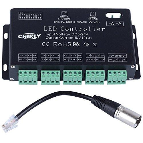 12 channel DMX 512 RGB LED strip controller dmx decoder dimmer driver DC5V-24V 5A/CH