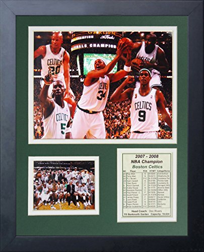 Larry Bird, Robert Parish and Kevin McHale Boston Celtics NBA Double Matted 8x10 Photograph Big 3 on Bench