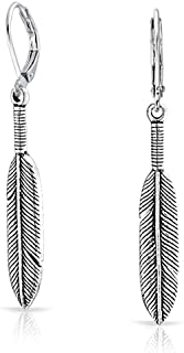 Native American Style Leaf Feather Oxidized Two Tone Leverback Dangle Earrings For Women 925 Sterling Silver