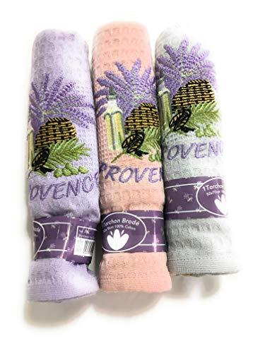 Juego de 3 paños bordados Provence de nido de abeja, 50 x 70 cm, 100 % algodón, 1 morado, 1 rosa, 1 parma (foto no contractual)