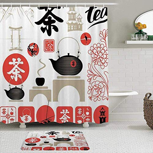 Shower Curtain-Modern Japanese Cultural Elements Flowers Tea Pot, Polyester Waterproof Bathroom Shower Curtains Bathroom Decor 72x72